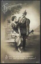 AK Postcard 1915 Army Soldiers Romance Armee Soldaten Woman Feldpost WWI (37)