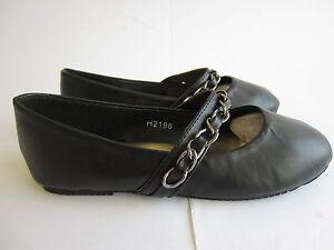 Spot On Filles À L'École Chaussures H2R198 Noir PU (Kr )