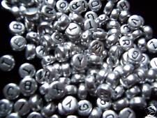 Perles rondes plates d'alphabets en argent 7mm x500 pièces