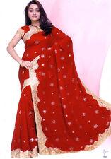 Red Bollywood Wedding Chiffon Saree Sari BellyDance Curtain ROBE KAFTAN Indian