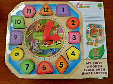 New First Learning My First Wooden Clock With Shapes Puzzle