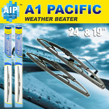 "Metal Frame Windshield Wiper Blades J-HOOK 24"" & 19"" OEM Quality"
