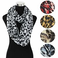 LOT OF WOMEN'S WINTER FASHION LEOPARD CHEETAH ANIMAL PRINT WARM INFINITY SCARF