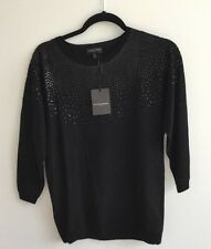 The white Company Ladies black sequin wool cashmere sweater jumper sz8 NWT