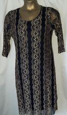 Ladies black & gold net overlay dress, size 16