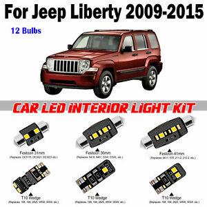 12 Bulbs Deluxe White Super LED Interior Light Kit For Jeep Liberty 2009-2015