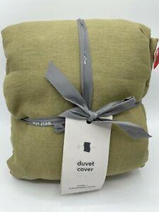 New West Elm European Belgian Flax Linen King Duvet Cover ~Cedar~