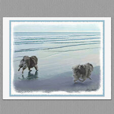 6 Keeshond at Seashore Dog Blank Art Note Greeting Cards