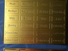ASSORTED SET OF 4 GOLD EMBOSSED 150LB CARD GREETING/MILESTONE BIRTHDAY TILES