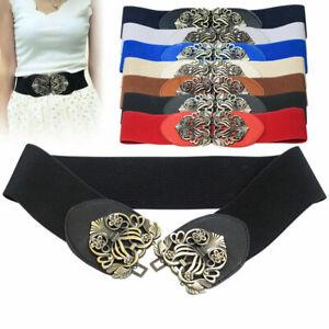 Womens Stretchy Buckle Dress Waist Belts Wide Elastic Cinch Waistband Ladies