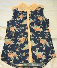 NWT Kimchi Blue Urban Outfitters Peach Blue Floral Print Top Blouse S
