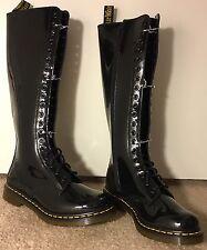 New Dr. Martens Doc Martens 1B60 20 Eye Knee High Boot, Patent Black, UK 6