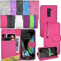 For LG Phone Models  - Wallet Leather Case Flip Book Cover + Screen Protector