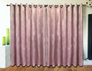 Plush Velvet Curtains Eyelet Ring Top thick long Ready Made Lined BLUSH PINK