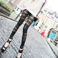 Frauen Leder Mesh Lace Skinny Hosen Stretch-Leggings-Pencil Hose best