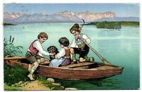 Dachshund Dackel dog with children row boat  German old artist postcard