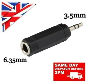 BIG to SMALL 6.35mm FEMALE to 3.5mm MALE JACK PLUG AUDIO STEREO ADAPTER ADAPTOR