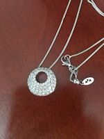 HEARTS ON FIRE  18K White Gold Silk Pave Circle Diamond Necklace 0.97ctw