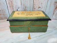 Reuge 36 Note Memory Music Green Jewelry Trinket Box Inlay Italy