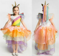 Unicorn Kids Girls Dress Halloween Cosplay Costume Rainbow Princess Dress Outfit