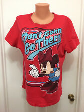 Disney Womens Minnie Mouse Hair Bow Red Glitter T-shirt Don't Even Go There 2XL