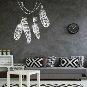 White Feather Wall Stickers Feather Bohemian Wall Decals Kids Rooms Home Decor