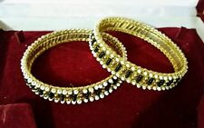 VTG Style Gold Plated Indian Asian Black White Beads Party Bangles Bracelets