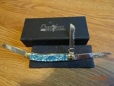 "3 1/2"" CLOSED 3 BLADE POCKET KNIFE CHEROKEE STONE  GENUINE BLUE CRUSHED ABALONE"