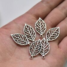 10X Tibetan Silver Leaf/Leaves Charm Pendant For DIY Earrings/Bracelet/Necklace