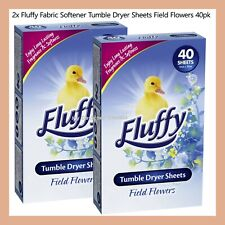 80 Sheets Fluffy Fabric Softener Tumble Dryer Sheets Field Flowers 2x 40Pack