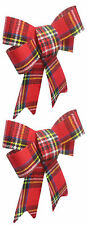 2 Pack Medium Size Christmas Holiday Multi-color Plaid Bows Gift Wreath Decor