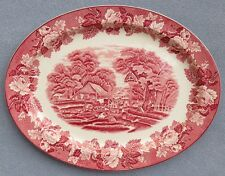 Wood & Sons Pink Transferware English Scenery Oval Serving Platter