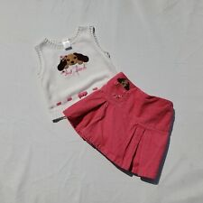 Girls Gymboree Skirt Sweater Vest Size 3 Vintage Primrose Corduroy Dog