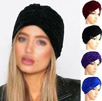 New Velvet Turban Stretchy Cap Hijab Headband Bandana Wrap Plain Hair Loss Chemo