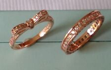 1b60487c8 GENUINE S925 ROSE GOLD CZ ENCRUSTED STACKING RING BAND & DELICATE BOW SIZE  52