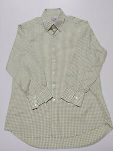 Turnbull Asser Shirt  lime green gingham 16  button down Oxford collar