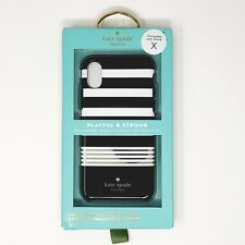 USA Kate Spade IPHONE X /XS Black White & Gold Stripe Protective Hardshell Case