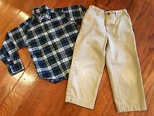 Chaps/American Living Boys 2 Piece Outfit~Size 4/4t~Plaid Shirt/Khaki Pants EUC