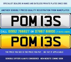 POM 13S, POMIES, POMIE, POMMY, POM, Private Plate, Cherished Number, Australia