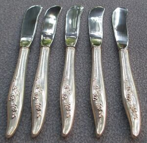 FIVE Oneida Heirloom Sterling Silver Young Love Butter Spreaders
