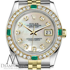 Ladies Rolex Steel 18K Gold 31mm Datejust  MOP Emerald Diamond Jubilee watch