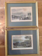 """Two Vintage Hand Tinted Pictures 10X8"""" Plymouth Sound, Warlegh House Devonshire"""
