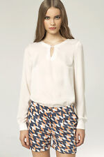 Nife Long Sleeve Blouse with key hole B38 Cream Ladies Medium Euro 38 Box1529 f