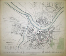 1833 DRESDEN SAXONY GERMANY GERMAN CITY MAP STREET PLAN  ORIGINAL HAND COLOUR