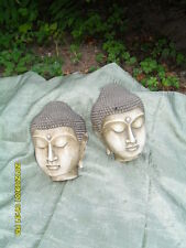 PAIR ANTIQUE19C CHINA POTTERY GLAZED BUDDHA SHAKYAMUNI HEADS