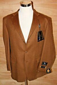 Mens Three Button Lamb Wool Cashmere Camel Sport Coat Pronto Moda New Defect 44R