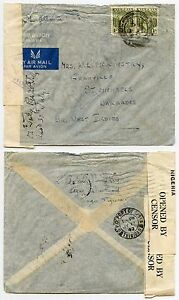 NIGERIA to BARBADOS WW2 CENSORS 1942 KG6 1s x 2 ST MICHAELS AIRMAIL S.ATLANTIC