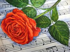 Watercolor Painting Red Rose Flowers Music Sheets Song 5x7 Art