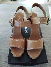 Dune tan leather wedge sandals  - Size UK 5 EU 38