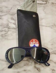"""Vtg 1970's """"I Ski"""" Rally Aviator Ski Sunglasses Japan Blue Frame Mirrored Lens"""